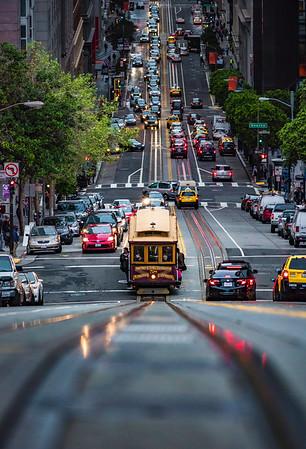 Looking down California Street- San Francisco, CA