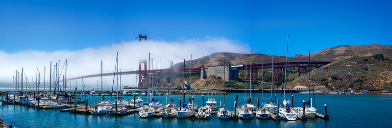 Presidio Yacht Club with the Golden Gate Bridge