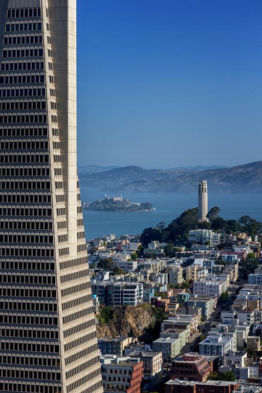 Trans America w/ Coit Tower and Alcatraz. June 2014
