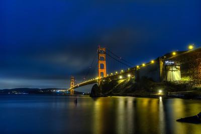 Golden Gate Bridge, San Francisco Ca, late night shot from the Coast Guard Pier.