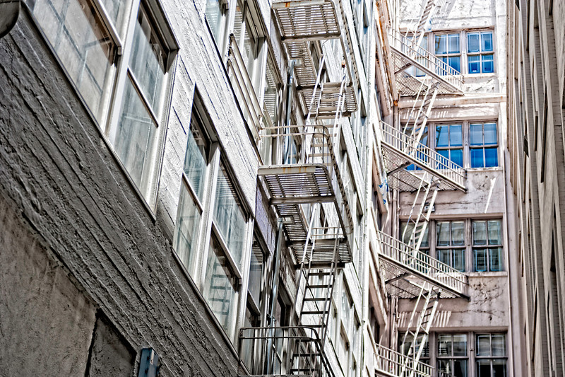 Fire escapes in an alley in San Francisco