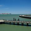 Docks at Aqua Park with Alcatraz in the background.