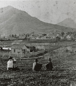 View of 1880s San Luis Obispo looking northwest.  #1956.021.011