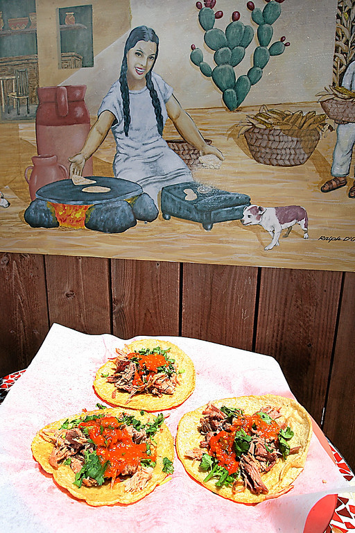 . A plate of tacos awaits a diner on the patio of San Marcos Charquito.  (Dan  Coyro -- Santa Cruz Sentinel)