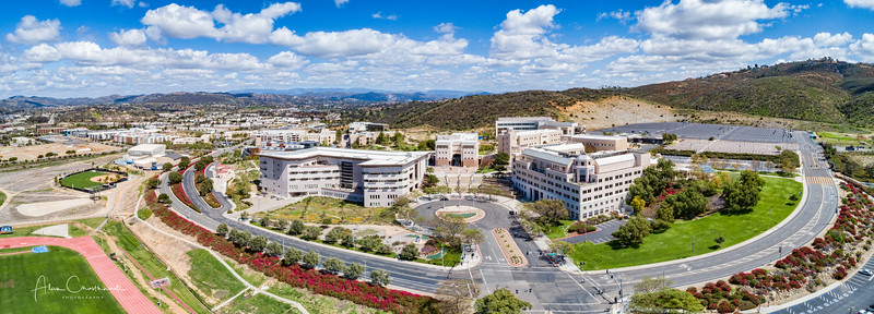 This is a 4 image aerial capture of the Cal State San Marcos campus in San Marcos, California, USA.