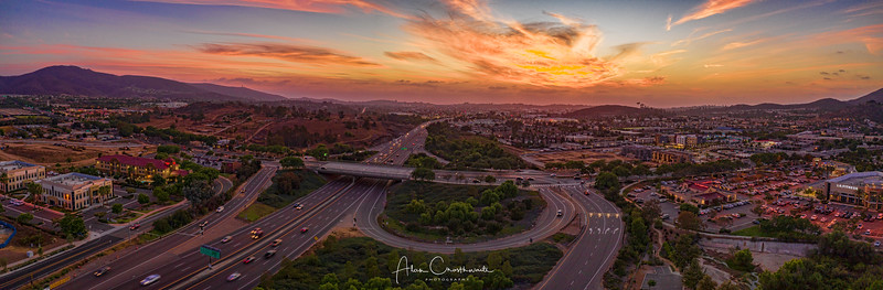 Sunset over the 78 freeway