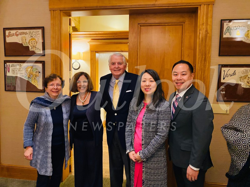 Leah Pastis, Sophia Angelos, outgoing club President Jim Angelos, Ann Wu and Stephen Choi