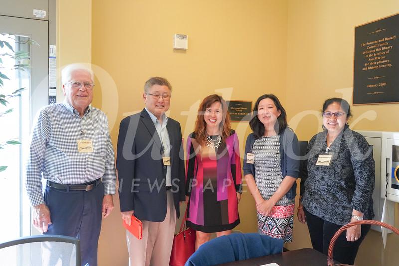 San Marino Library Foundation members Chris Datwyler, President Hal Suetsugu, Gloria Wong, Christine Chin and Su Viswanathan