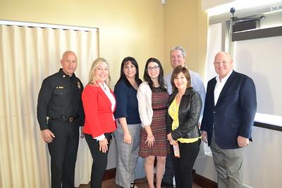 Fire Chief Mario Rueda, Gretchen Shepherd Romey, Marcella Marlowe, Amanda Fowler, Josette Espinosa, Scott Pilch and Police Chief John Incontro