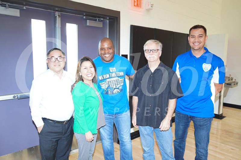 C. Joseph Chang, Shelley Ryan, SMHS Principal Issaic Gates, Jim Fahey and Jorge Munoz