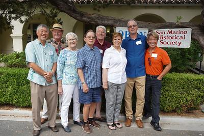 Historical Society leaders Isaac Hung, Bob Houston, Judy and Wayne Carter, John Morris, Pat Salvaty, John Ryan and Ed Tom