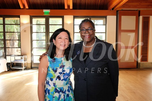San Marino National Charity League President Christine Chin and Pasadena Senior Center Executive Director Akila Gibbs