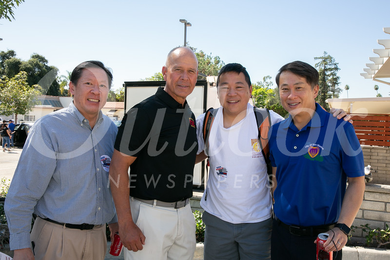 John Chou, Fire Chief Mario Rueda, Jonathan Duong and San Marino Mayor Steven Huang
