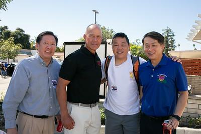 John Chou, Fire Chief Mario Rueda, Jonathan Duong and San Marino Mayor Steven Huang