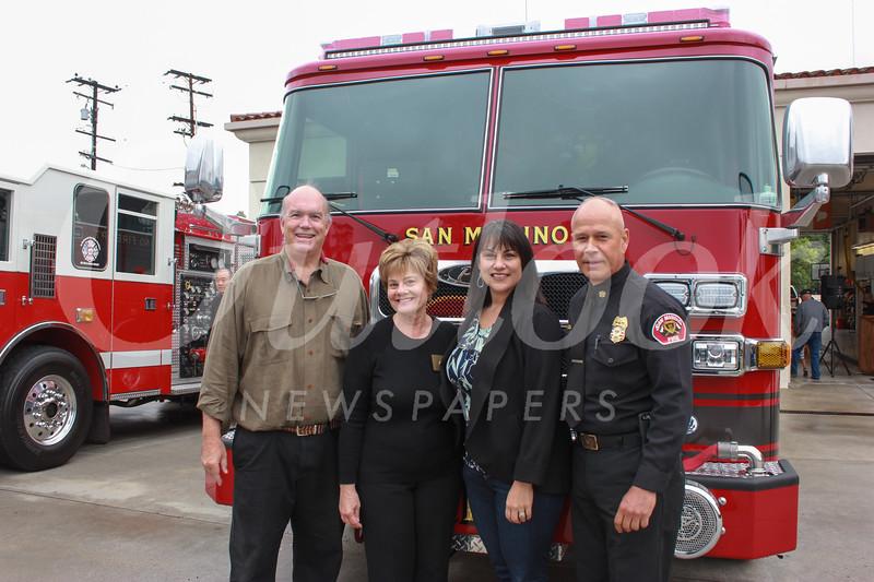 Mayor Steve Talt, City Councilwoman Susan Jakubowski, City Manager <br /> Marcella Marlowe and Fire Chief Mario Rueda