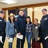 Firefighter Sam Benites, Gabrielle Carlton, firefighter Mike White, Teresa Wong, Channi Kaur and firefighter Eric Gashi