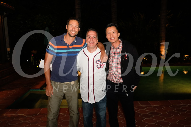 Brett Goslett, event host Steve Levy and Leo Lei