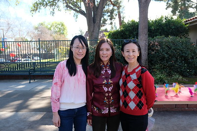 Carver Elementary School Lunar New Year event chairs Bonnie Woo, Kathleen Brown and Darbin Chan