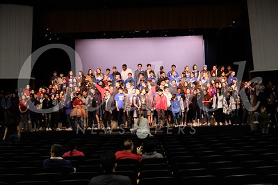 23 Choirs from San Marino Unified School District assemble for a short rehearsal before the Student Showcase