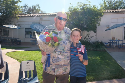 11 Veteran James Masterson with grandson Andrew Rindone, 4th grade