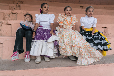 Young girls watching Escaramuza practice