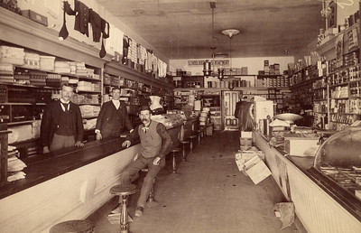 Interior of unknown retail store in San Miguel, circa 1890.