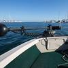 In the harbor on Steve's fishing boat.