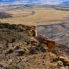 Looking down on mesa overlooking Mussentuchit Badlands