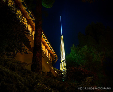 The Marin County Civic Center designed by Frank Lloyd Wright illuminated the spire tonight to commemorate the 50 year anniversary.