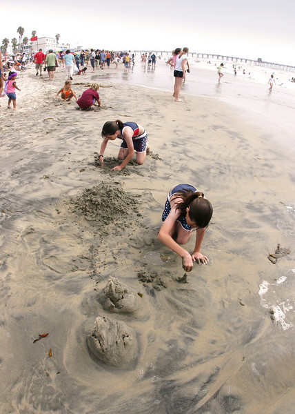 San Diego Beaches, Children Building Sandcastles on Imperial Beach