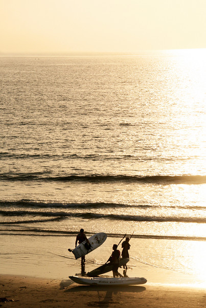 San Diego Beaches, Surfers at Sunset La Jolla Shores