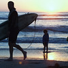 San Diego Beaches, Surfer & Kids at Sunset