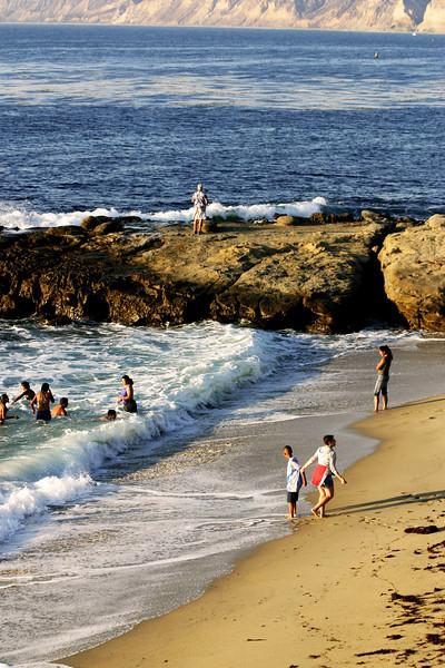 San Diego Beaches, Bathers at Scripps Cove La Jolla