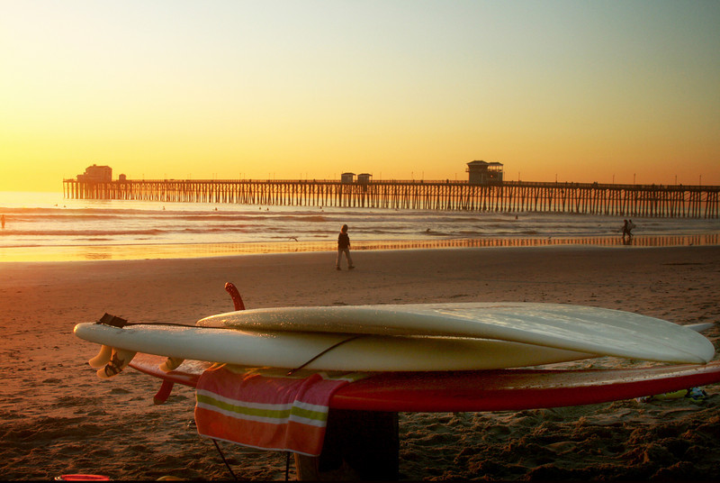 San Diego Beaches, Surfboards at Oceanside Pier