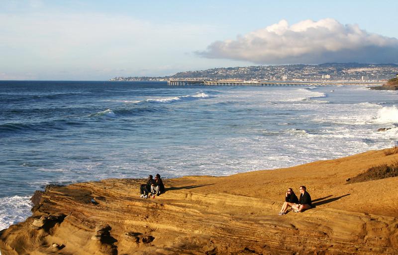 San Diego Beaches, Couples Enjoying Sunset on Sunset Cliffs