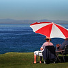 San Diego Beaches, Umbrella and Couple on La Jolla Grassy Beach