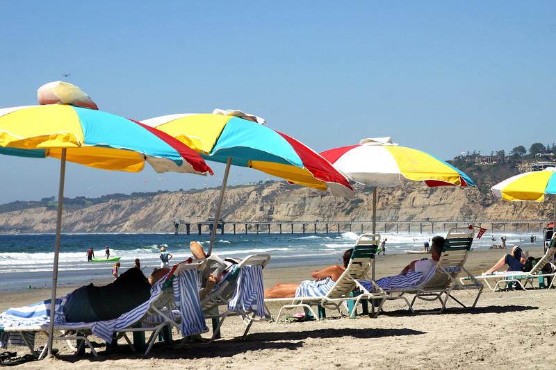 San Diego Beaches, Colorful Umbrellas on La Jolla Shores