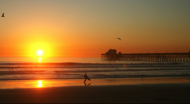 San Diego Beaches, Surfer at Sunset with Oceanside Pier