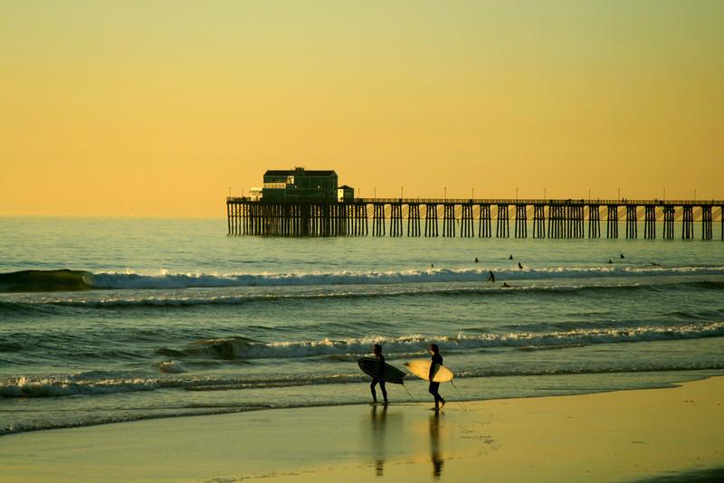 San Diego Beaches, Surfers on Oceanside Beach