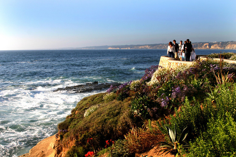 San Diego Beaches, Walkers in La Jolla on a Late Winter Afternoon