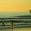 San Diego Beaches, Surfers with View of Oceanside Pier