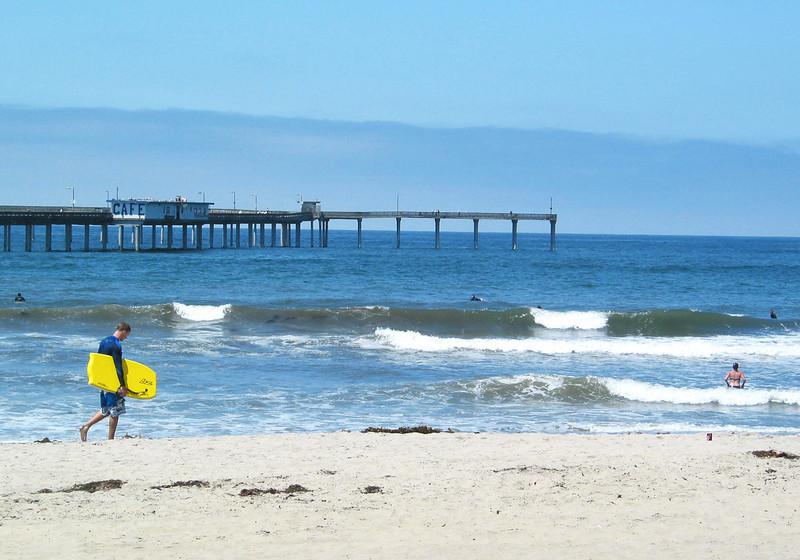 San Diego Beaches, Surfer at Ocean Beach Pier