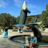 Scripps Aquarium, La Jolla, Grandfather & Granddaughter in plaza