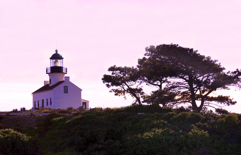 Cabrillo National Monument, Old Pt  Loma Lighthouse at Dusk