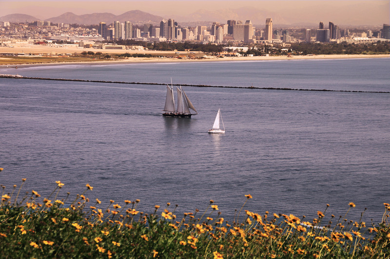 Cabrillo National Monument, View on San Diego Skyline at Sunset