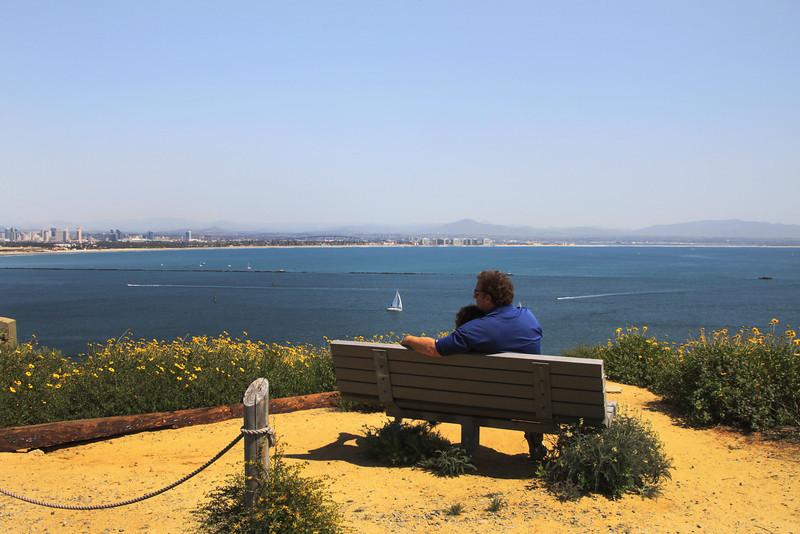 Cabrillo National Monument, Couple on Hiking Path Bench
