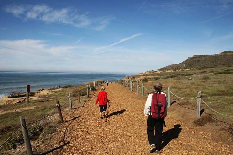 Cabrillo National Monument, Children hiking along the Pt. Loma tidepool paths, San Diego