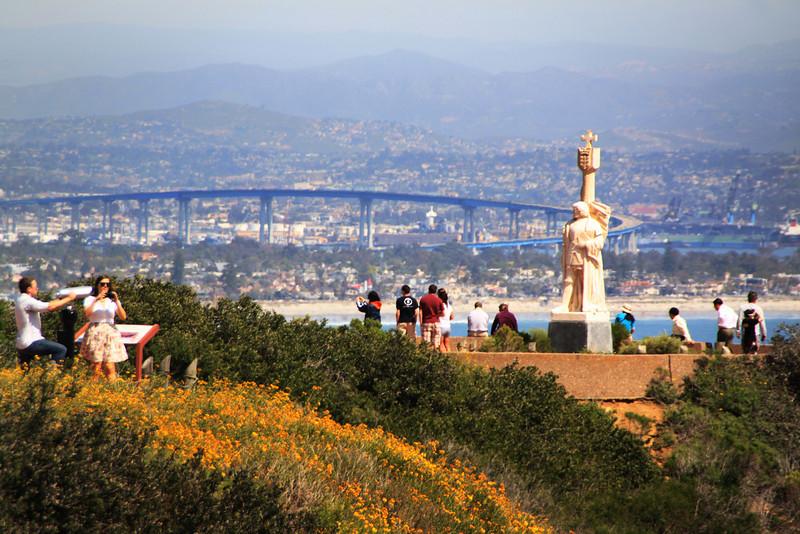 Cabrillo National Monument, View on Statue and Coronado Bridge