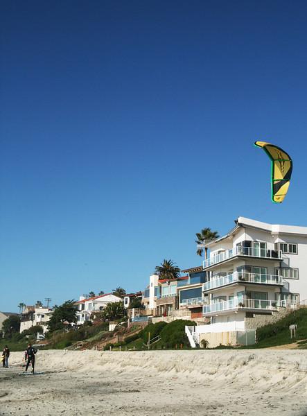 Carlsbad California Beach with Kite Surfer