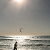 Jogger & Kite Surfer, Carlsbad Beach with Winter Sun